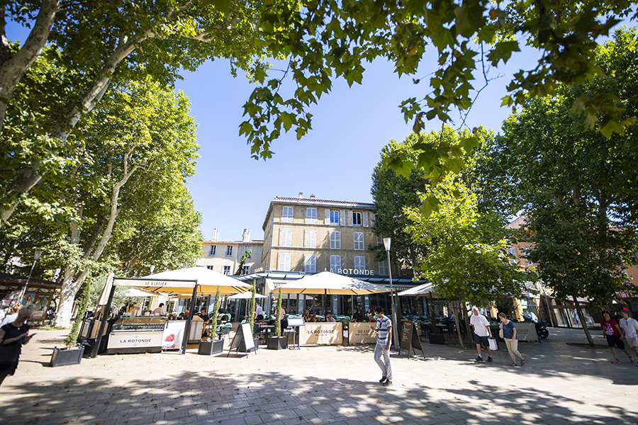 Vue de la terrasse - La Rotonde - Restaurant Aix-en-Provence